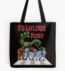 4 Superheroes Cross the Road Tote Bag