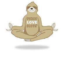 Peace Love Sloth - Meditating Floating Sloth by jitterfly