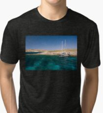 Moored in Blue Lagoon Bay, Comino Tri-blend T-Shirt