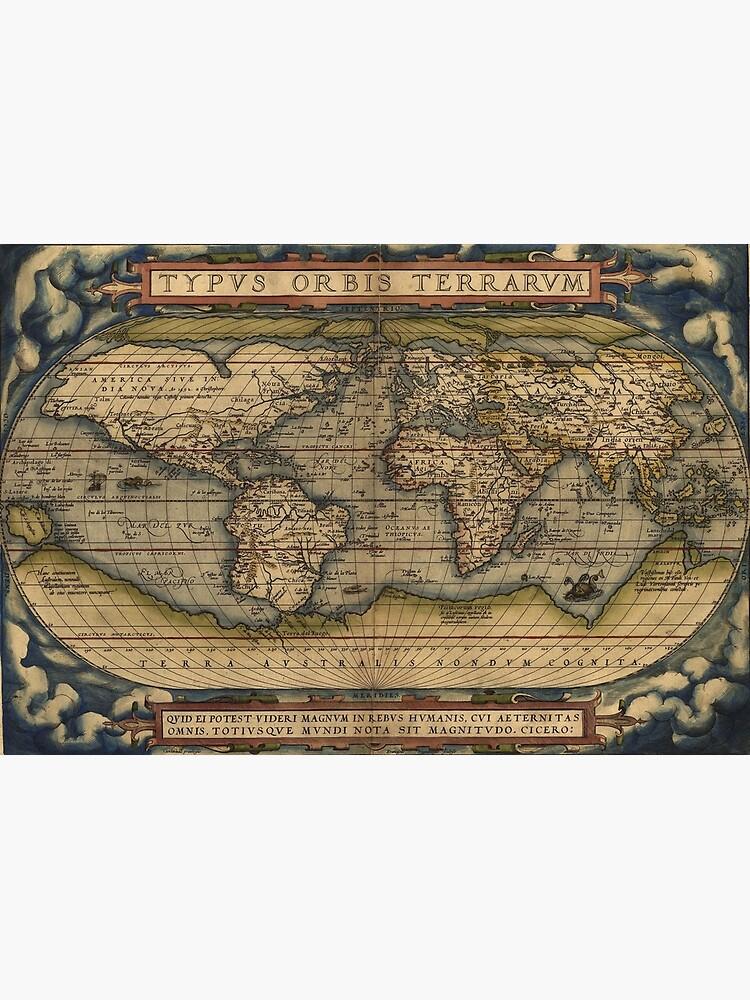 The world Ortelius Typus Orbis Terrarum 1564 Vintage World Maps by podartist