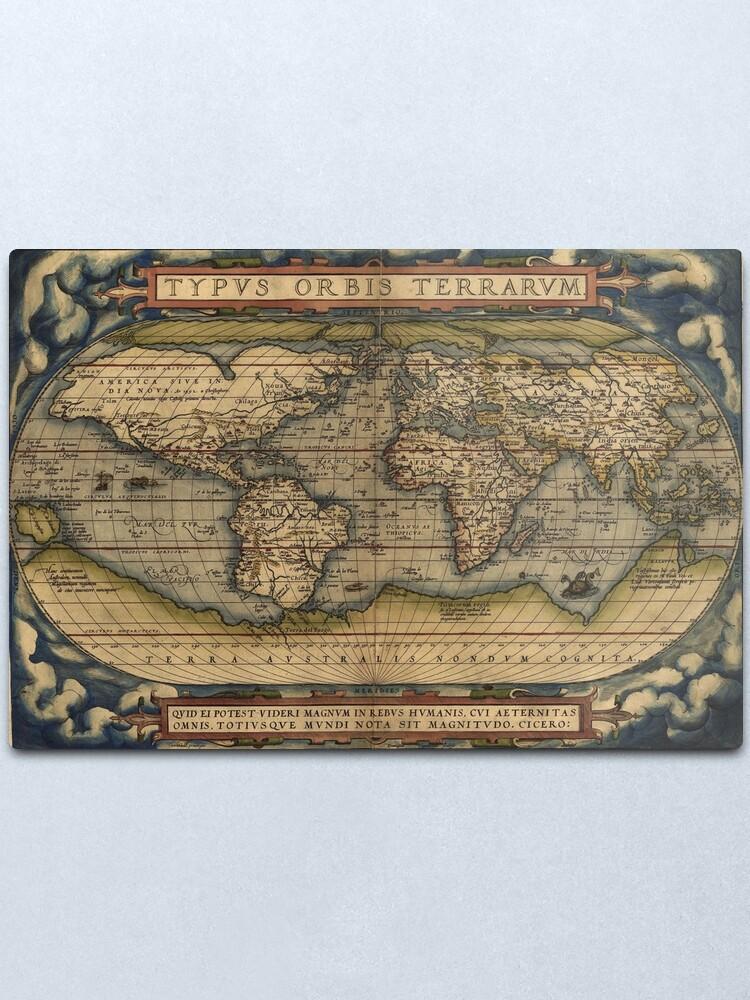 Alternate view of The world Ortelius Typus Orbis Terrarum 1564 Vintage World Maps Metal Print