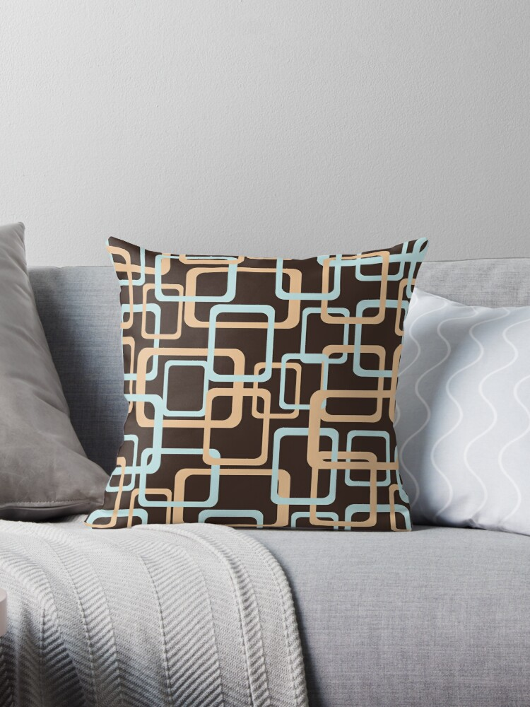 retro rounded square graphic pattern blue and orange on brown by i3Design