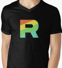 Camiseta para hombre de cuello en v Rainbow Rocket