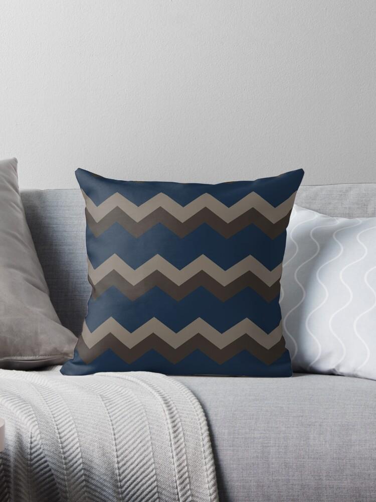 zig zag pattern brown, tan, blue by i3Design