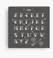 Homemade tattoos alphabet Canvas Print