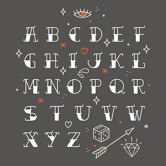 Homemade tattoos alphabet by motuwe