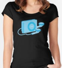 Blue iPod shuffle retro music player Women's Fitted Scoop T-Shirt