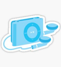 Blue iPod shuffle retro music player Sticker