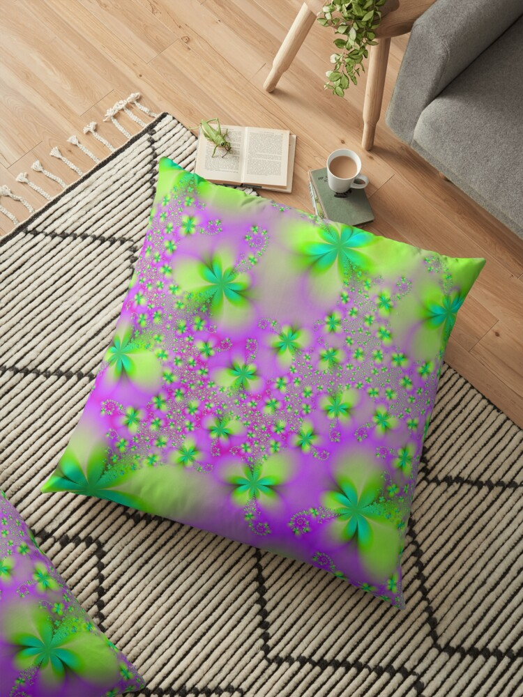 Green Yellow and Pink Abstract Flowers by Objowl