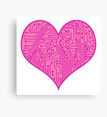 Geeky Pink Circuit Board Pattern Canvas Print