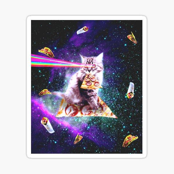 Outer Space Pizza Cat - Rainbow Laser, Taco, Burrito  Sticker