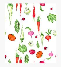 Kawaii Vegetable Garden Print Photographic Print