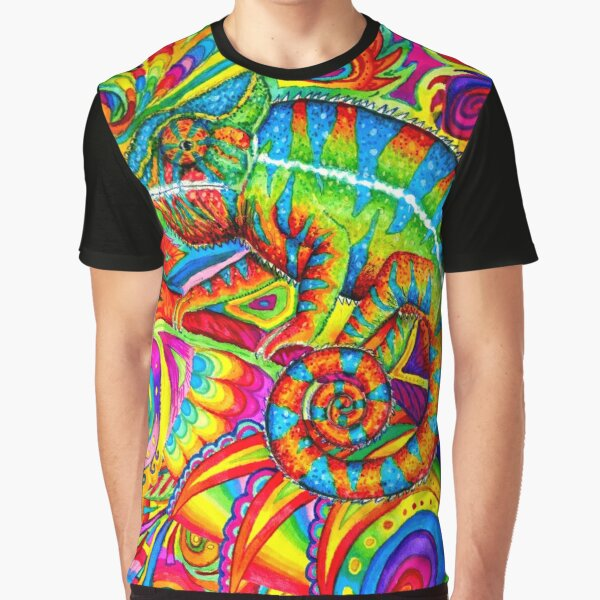 Psychedelizard Psychedelic Chameleon Colorful Rainbow Lizard Graphic T-Shirt