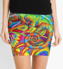 Psychedelizard Psychedelic Chameleon Colorful Rainbow Lizard Mini Skirt