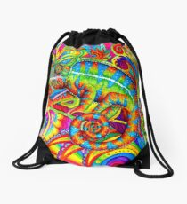 Psychedelizard Psychedelic Chameleon Colorful Rainbow Lizard Drawstring Bag