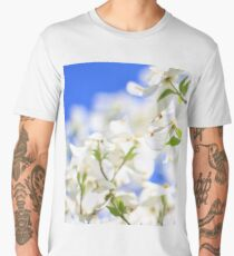 Dogwood Tree Blossoms - Colors in Nature Background - Flower Power in White Men's Premium T-Shirt