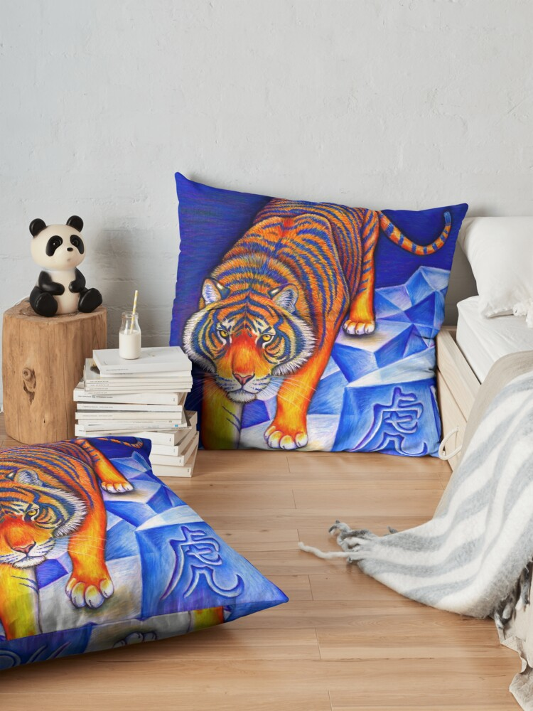 Alternate view of Colorful Chinese Zodiac Animals Year of the Tiger Floor Pillow