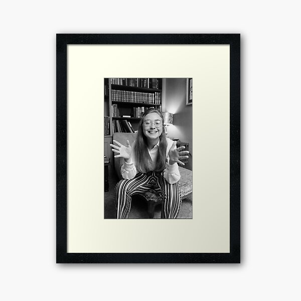 Young Hillary Clinton Black and White Print Framed Art Print