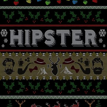 Hipster Ugly Christmas Sweater Design by gallerytees