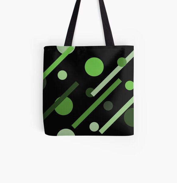 Linear Green - Dots and Dashes All Over Print Tote Bag