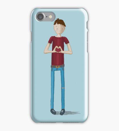 Hand heart boy iPhone Case/Skin