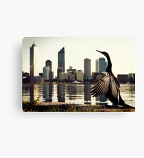 Darter and Perth skyline Canvas Print