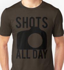 Shots All Day. Camera Unisex T-Shirt