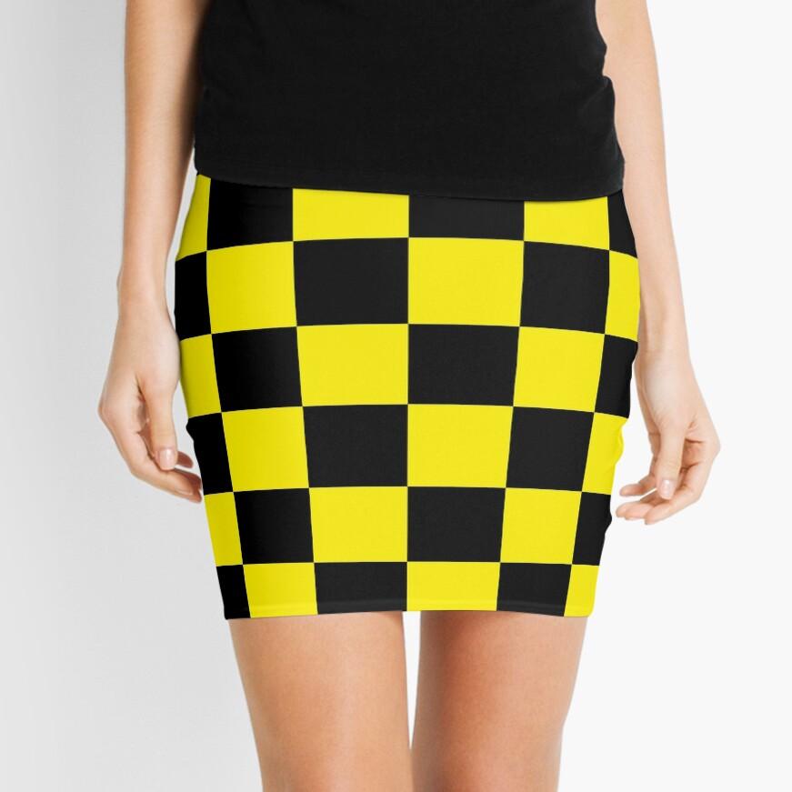 black yellow checkered Mini Skirt