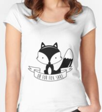 Oh For Fox Sake - Black And White Women's Fitted Scoop T-Shirt