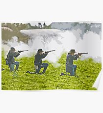 Stylized photo of three Civil War re-enactor soldiers on battlefield firing rifles. Poster
