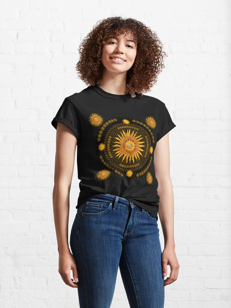 "Alternate view of ""Black & Gold Vault Mandala""  Classic T-Shirt"
