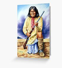 Geronimo, apache, american native indian portrait painting Greeting Card