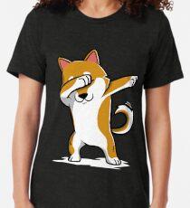 Dabbing Shiba Inu Funny Tri-blend T-Shirt
