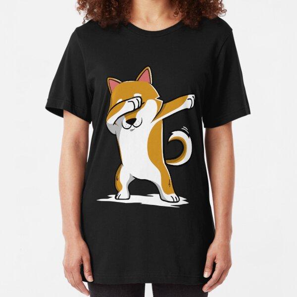 Dabbing Shiba Inu Funny Slim Fit T-Shirt