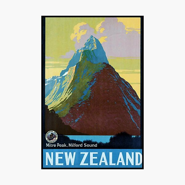 Vintage New Zealand Travel Poster Photographic Print