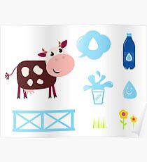 Cow design elements blue on white Poster