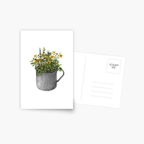 Mug with mint and hypericum flowers Postcard