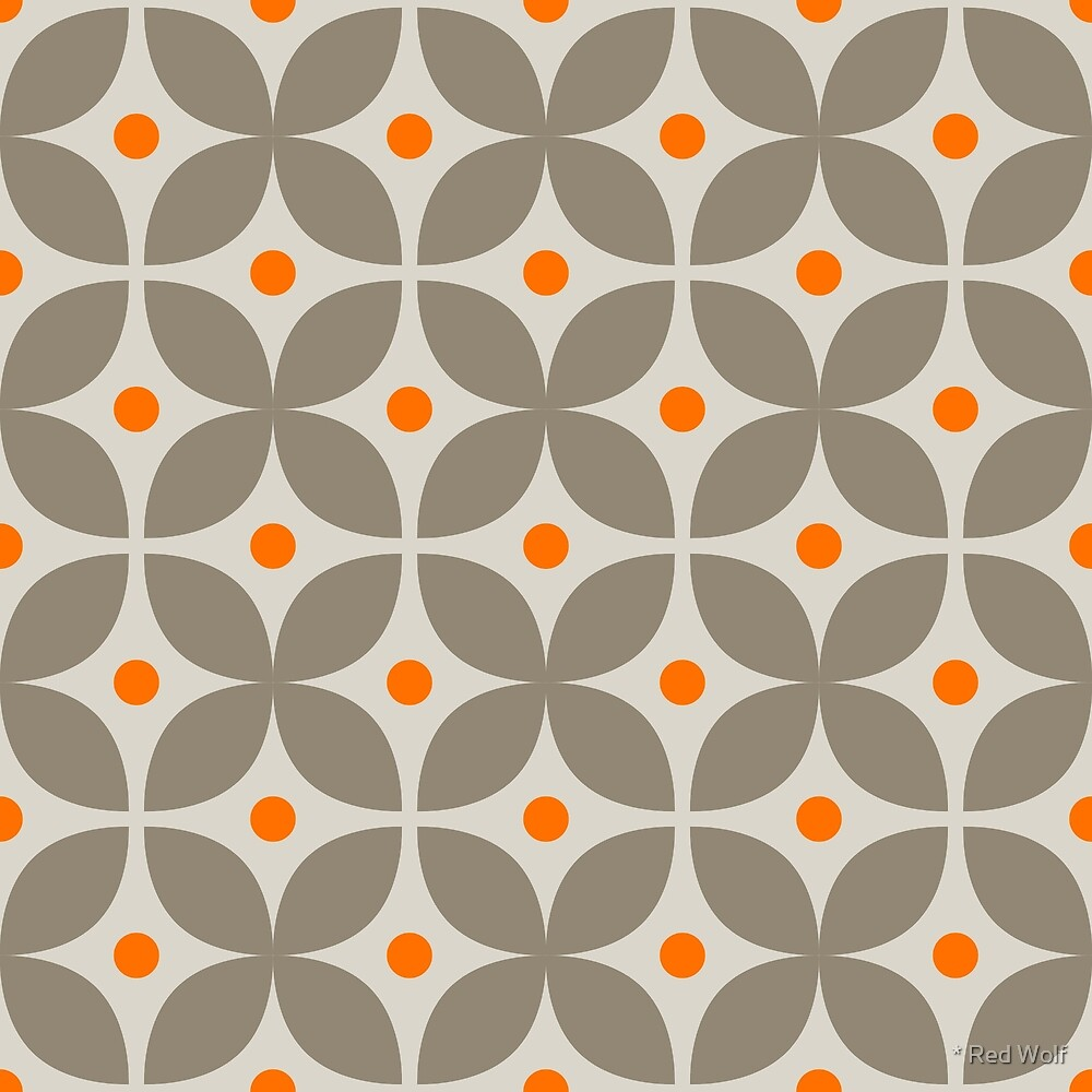 Geometric Pattern: Stylised Flower: Grey by * Red Wolf