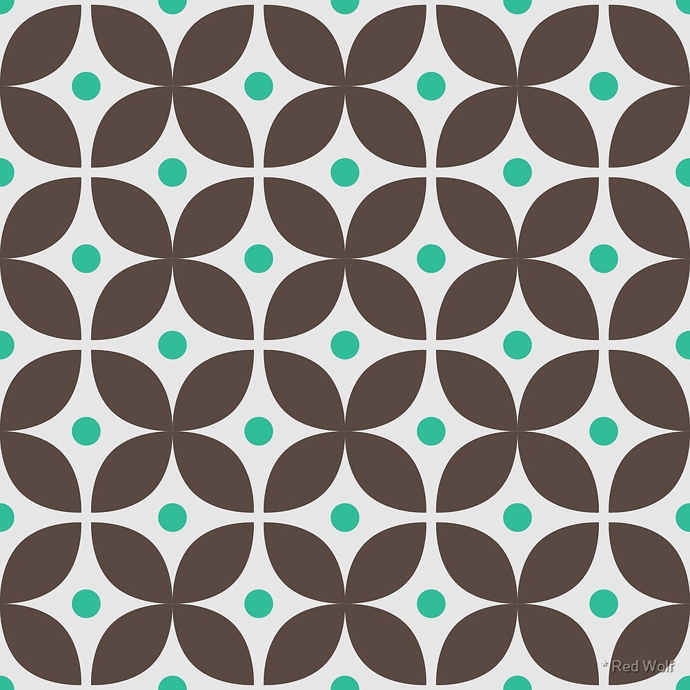 Geometric Pattern: Stylised Flower: Brown by * Red Wolf