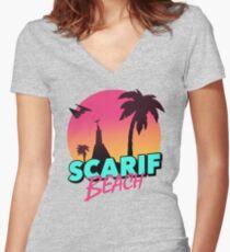 Scarif Beach Women's Fitted V-Neck T-Shirt