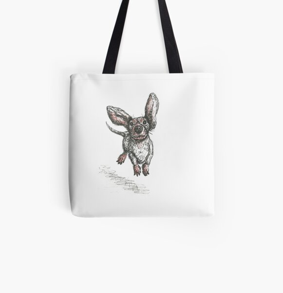 Dachshund running, pen and ink illustration. Sausage dog, doxie, weiner. All Over Print Tote Bag