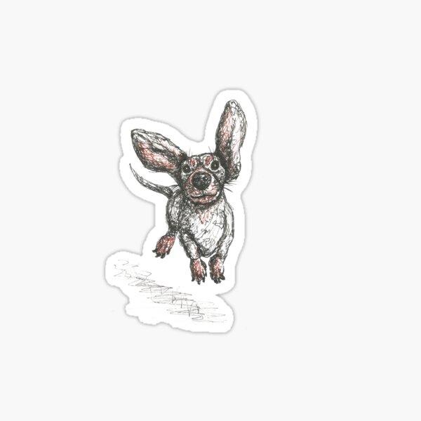 Dachshund running, pen and ink illustration. Sausage dog, doxie, weiner. Sticker