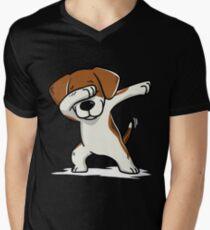 Dabbing Beagle Funny Men's V-Neck T-Shirt