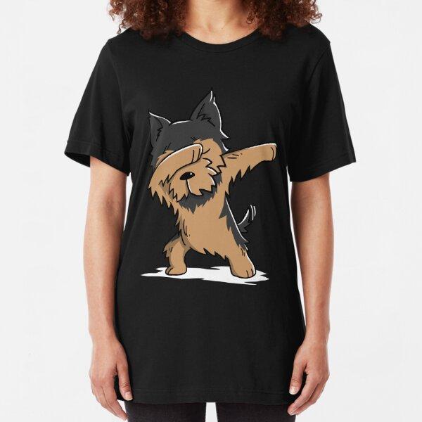 Dabbing Yorkshire Terrier Funny Yorkie Slim Fit T-Shirt