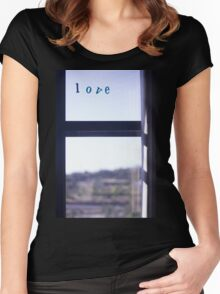 Love word on window photograph romantic valentines day Women's Fitted Scoop T-Shirt