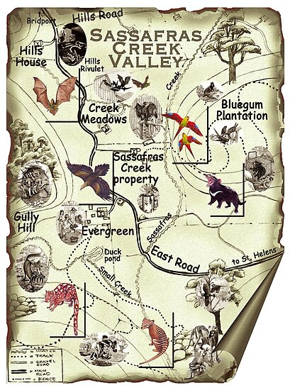 TAZZIE TALES OF: Sassafras Creek Valley Map by Marlies Bugmann tasmanianartist by tasmanianartist