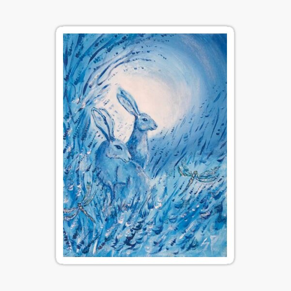 Blue hares in moonlight Sticker