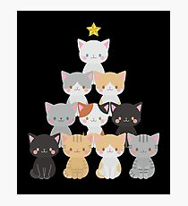 Cute Cat Christmas Tree Meowy Xmas Holiday Lover  Photographic Print