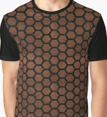 HEXAGON2 BLACK MARBLE & DULL BROWN LEATHER Graphic T-Shirt