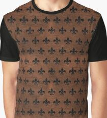 ROYAL1 BLACK MARBLE & DULL BROWN LEATHER (R) Graphic T-Shirt